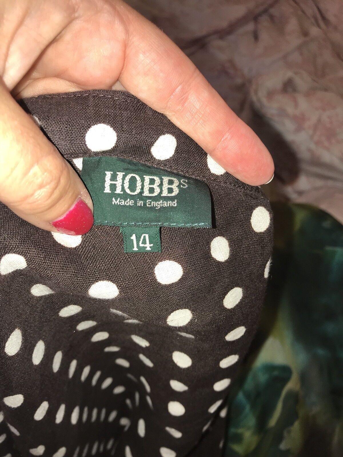 Hobbs Marronee Bianco A Pois Vestito Donna 14 14 14 lino collo a V d69e01