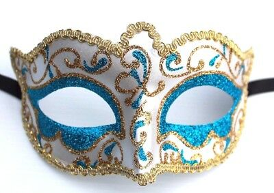 LADIES TURQUOISE /& SILVER JEWELLED VENETIAN MASQUERADE PARTY CARNIVAL BALL MASK