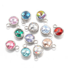 20 New Charms Mixed Acrylic UV Round Dull Silver Plated Connectors 11x19mm