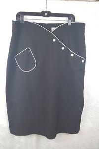 Bettie-Page-4XL-50-039-s-Style-High-Waist-Pencil-Black-Skirt-White-Trim