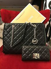 NWT MICHAEL KORS LEATHER SUSANNAH LARGE TOTE BAG + ASTRID WALLET IN BLACK/SILVER