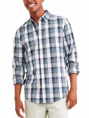 George Mens Stretch Poplin Button Down Long Sleeve Shirt 2XL 50-52 Blue Grey Check