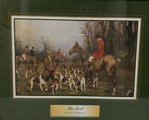 Vintage Reprint Poster The Meet George Wright Hunting Dogs Horses Equestrian