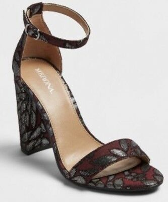 c07d7bde5cd NEW Women's Lulu Brocade Block Heel Sandal Pumps - Merona Burgundy 8   eBay