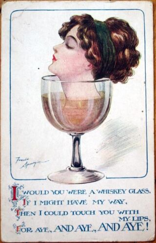 1915 Fred SpurginArtistSigned Postcard Woman's Head in Glass of Wine