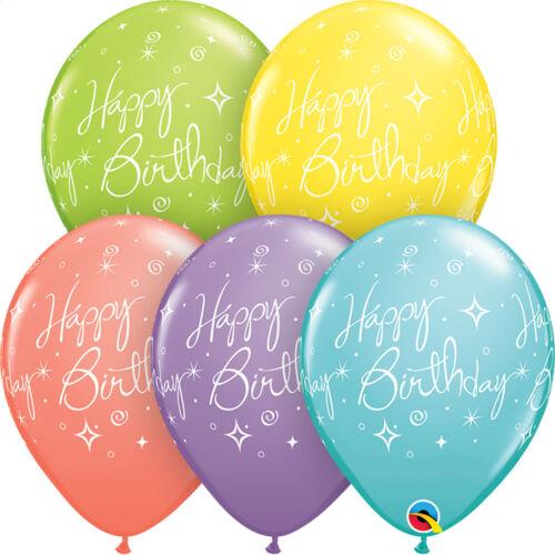 "Party Designs HAPPY BIRTHDAY TROPICAL Qualatex Latex Balloons 11/"" 6 x 27.5cm"