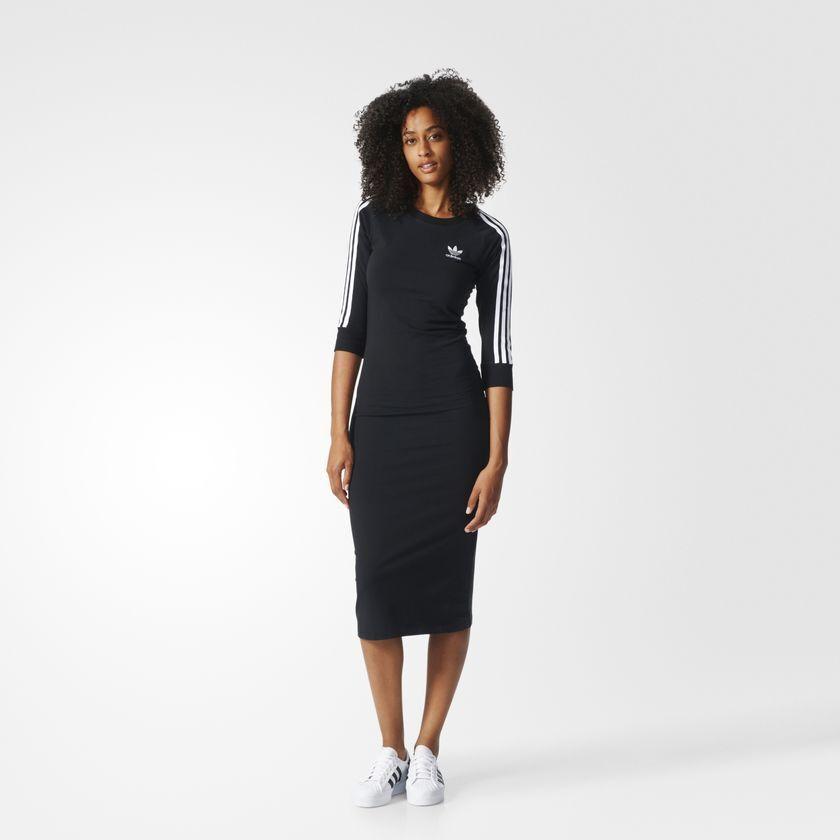 Adidas Originals W 3Stripe Classic Stretchy schwarz Dress Größe New 705