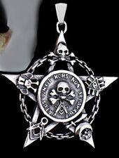 pentagramm&skull Amulette pendentif + chaîne Satan crâne tete mort diable