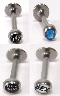 Labret Piercing SPITZE Chirurgenstahl 316l 1,2mm 6 oder 8mm INKgrafiX® NEU