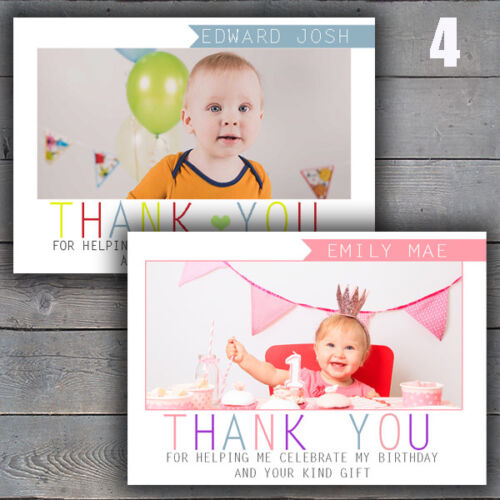 Childrens Kids Personalised Photo Birthday Thank You Cards Notecards