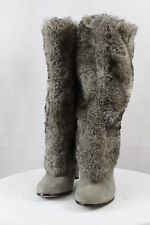 088831bc8ad1f  259 ~ Women s SAM EDELMAN SHALIN Faux Fur Suede Knee High Pull on Heel  Boots 6M