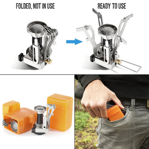 Portable Pocket Folding Small-Camping Gas Furnace Stove Burner Survival Outdoor