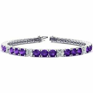 9-8-Ct-Amethyst-And-Diamond-7-25-034-Tennis-Bracelet-14K-White-Gold-Over-925-Silver