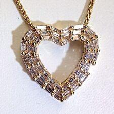 14K Gold Shimmering 2.5CT Baguette Diamond Heart Pendant Wheat Chain Necklace