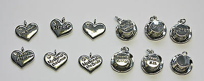 Wedding charms for crafts TOP HATS or HEARTS engraved with rhinestone DIY decor