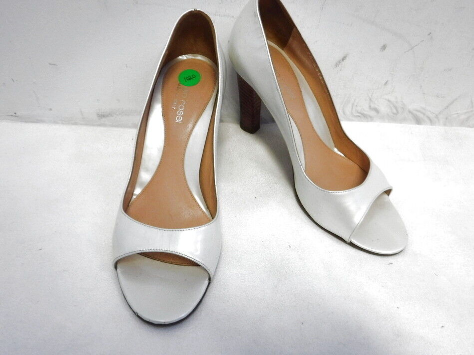 SERGIO ROSSI WHITE PEARLIZED PATENT LEATHER  OPEN TOE HEELS SZ 36.5