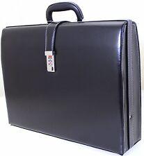 New Slim Line Exective Attache Case Faux Leather Expandable Briefcase Office Bag