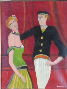 tableau-huile-sur-toile-signee-034-Les-danseurs-034-034