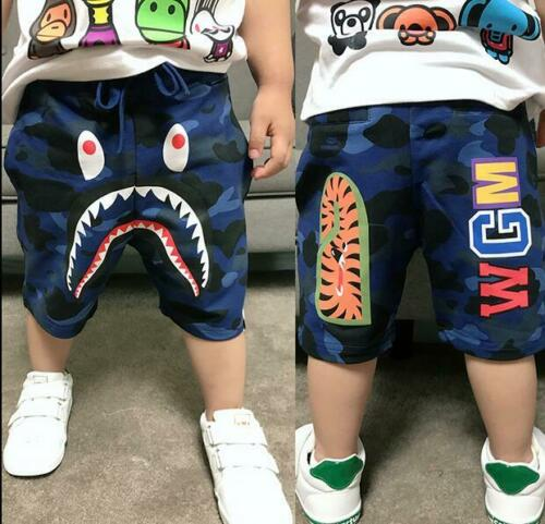 2019 A Bathing Ape Bape Blue Camo Shark WGM Kids Boy Summer Short Pants