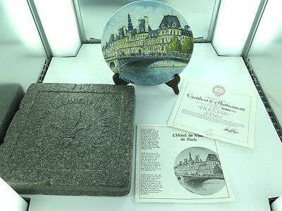 "1970's LOUIS DALI ""L'HOTEL DE VILLE DE PARIS""  COLLECTORS PLATE IN BOX WITH COA."
