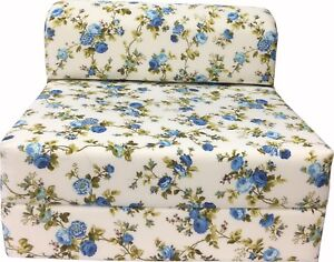Remarkable Details About Twin 6X32X70 Flip Chair Folding Foam Beds Foldable Sofa Bed Blue Roses Bralicious Painted Fabric Chair Ideas Braliciousco