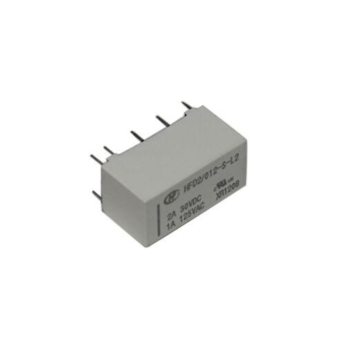 HFD2//012-S-L2 Relais elektromagnetisch DPDT USpule 12VDC 1A//125VAC 3A