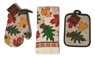Leaves Acorns Kitchen Linen Set Towel Potholder Oven Mitt Autumn Fall  31621564 | eBay
