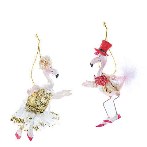 2 Assorted Styles w Glass Darice Christmas Flamingo Ornament