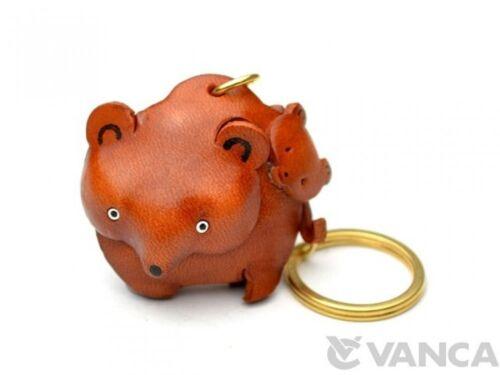 Bear Family Handmade 3D Leather L Keychain//Charm *VANCA* Made in Japan #56870
