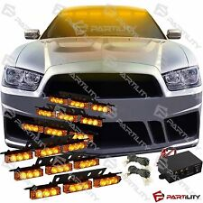 54 Amber LED Emergency Vehicle Strobe Flash Light Front Grill Car Truck