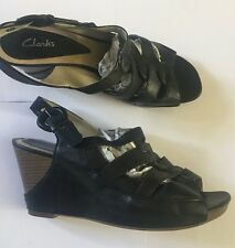 Clarks Leather wedge sandals with ankle strap wide fit Size 6 Uk 4.99
