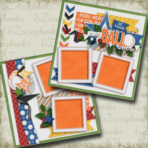 AT THE BALL PARK - 2 Premade Scrapbook Pages - EZ Layout 3160