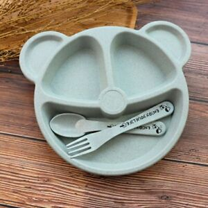 3Pcs//Set Baby Bowl+spoon fork Feeding Food Tableware Cartoon Bear Kids Dishes