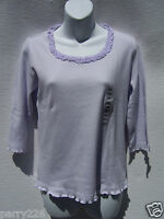 Pictures Women's Purple ¾ Sleeve Ruffled Neck Shirt Top Size Small