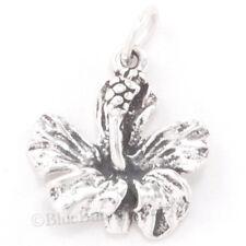 3D HIBISCUS Flower Pendant Hawaii Hawaiian .925 GARDEN Charm 925 Sterling Silver