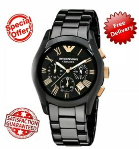 BRAND-NEW-GENUINE-MENS-EMPORIO-ARMANI-AR1410-CERAMIC-BLACK-amp-GOLD-WATCH-WITH-BOX