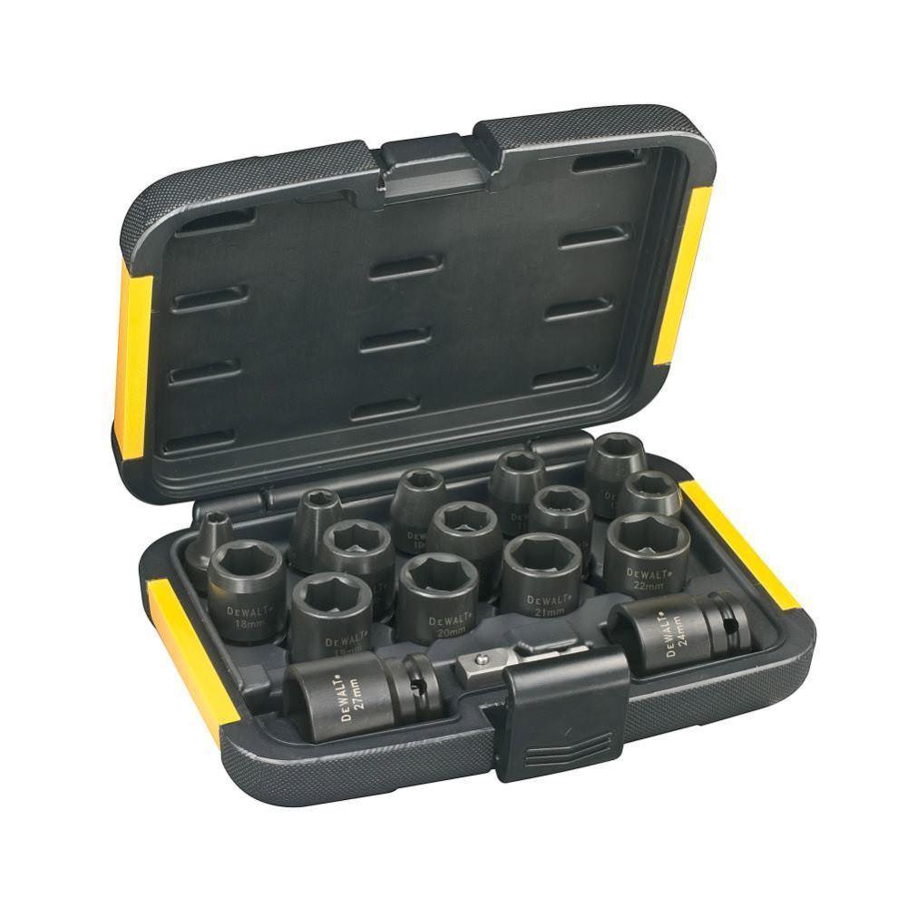 Dewalt 1 2  Schlagschrauber-Nüsse-Set DT7506-QZ, 17-tlg mit 1 4  zu 1 2  Adapter