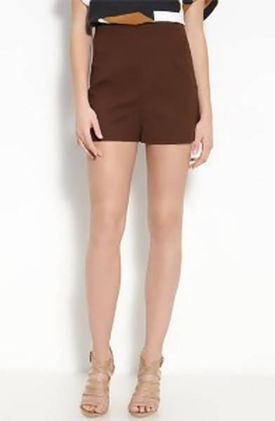 175 NWT Diane Von Furstenberg Simca High Waist Tobacco Brown Shorts