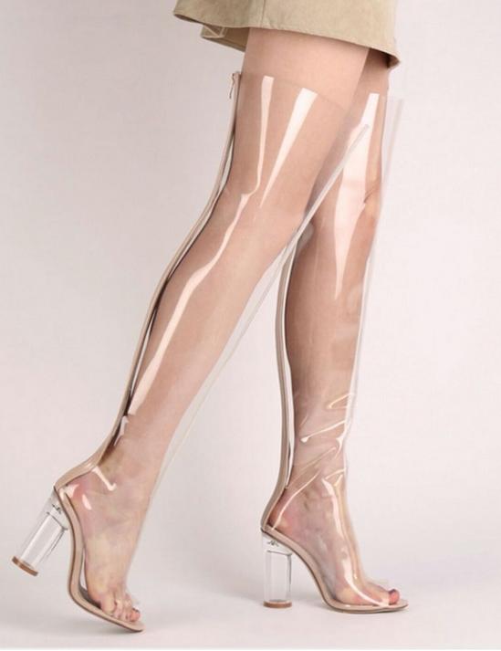 Resorte de mujer sobre la rodilla rodilla rodilla botas Bloque Talón Gladiador Sandalia Zapatos Transparente 19b155