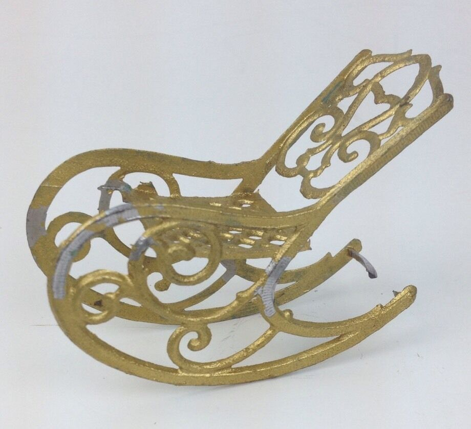Antique French Metal Gilt Doll House Victorian Rocking Chair 3  long 2  tall