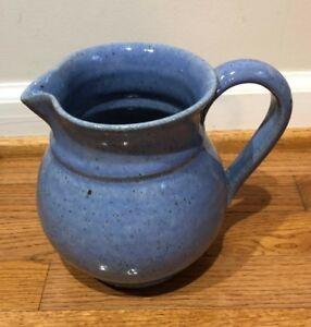 Vintage Hand Thrown Studio Pottery Pitcher - Lilac Stoneware Salt Glazed
