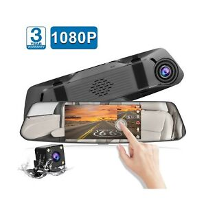 "TOGUARD Mirror Dash Cam 4.3/"" TouchScreen HD1080P Dual DVR Recorder Backup Camera"