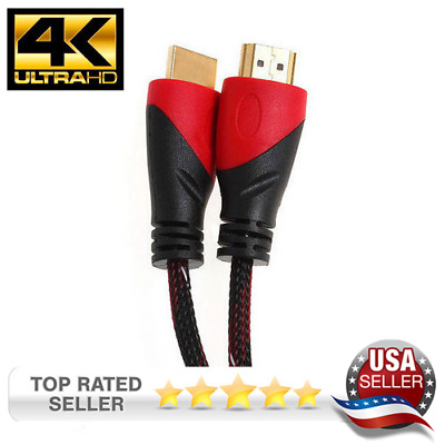 30ft High Performance HDMI Cable for 4K TV 3D Bluray 1080P V1.4 Black//Red Mesh