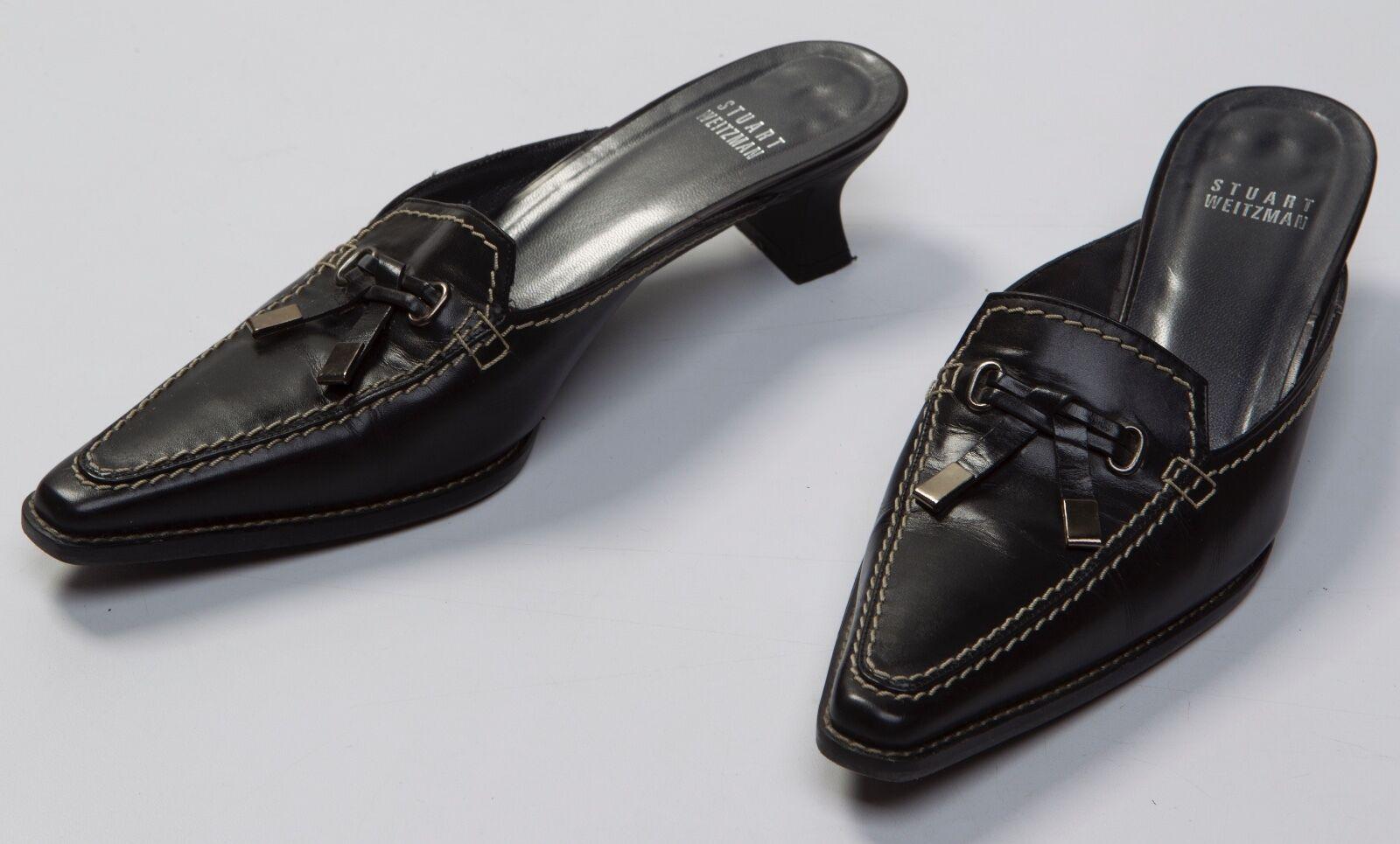 Women's Stuart Weitzman Black Leather Closed Pointy Toe Mules Heels Heels Heels shoes 6.5 M 20fc4b
