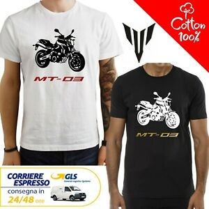 T-Shirt-Yamaha-MT-03-uomo-Maglia-moto-nera-cotone-100-maglietta