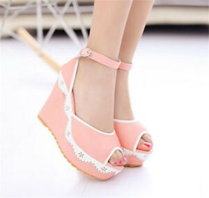 Fashion-Peep-Toe-Lace-Wedge-Sandals-Platform-High-Heel-Women-039-s-Ankle-Strap-Shoes