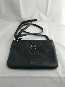 LAUREN-RALPH-LAUREN-Black-Grain-Texture-Small-Zip-Leather-Shoulder-Bag