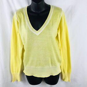 Delia's Cotton V Neck Junior Sweater Sz L Yellow Cardigan Women White Rivets