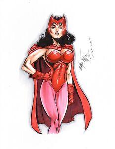 Sexy Scarlet Witch Original Art Mc Wyman 11x14 Commission Sketch
