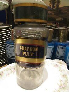 ancien grand pot a pharmacie en verre flacon étiquette charbon pulv 25
